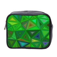 Green Triangle Background Polygon Mini Toiletries Bag 2 Side by Celenk