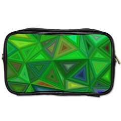 Green Triangle Background Polygon Toiletries Bags 2 Side by Celenk