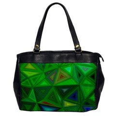 Green Triangle Background Polygon Office Handbags by Celenk