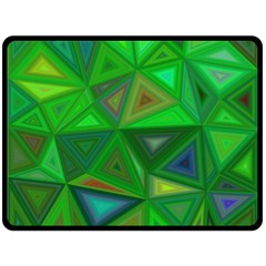 Green Triangle Background Polygon Fleece Blanket (large)  by Celenk