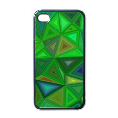 Green Triangle Background Polygon Apple Iphone 4 Case (black) by Celenk