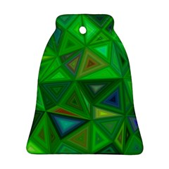 Green Triangle Background Polygon Bell Ornament (two Sides) by Celenk