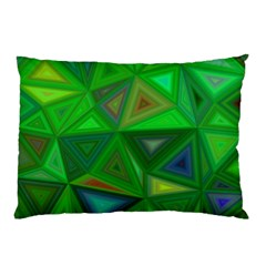 Green Triangle Background Polygon Pillow Case (two Sides) by Celenk