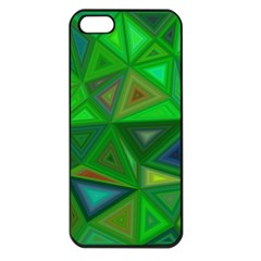 Green Triangle Background Polygon Apple Iphone 5 Seamless Case (black) by Celenk