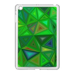 Green Triangle Background Polygon Apple Ipad Mini Case (white) by Celenk