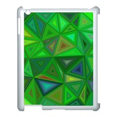 Green Triangle Background Polygon Apple Ipad 3/4 Case (white) by Celenk