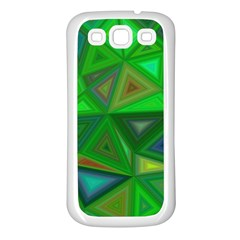 Green Triangle Background Polygon Samsung Galaxy S3 Back Case (white) by Celenk