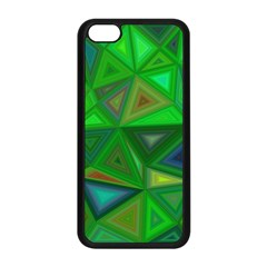 Green Triangle Background Polygon Apple Iphone 5c Seamless Case (black) by Celenk