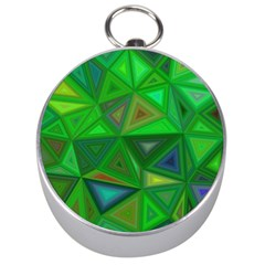 Green Triangle Background Polygon Silver Compasses by Celenk