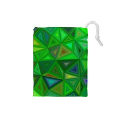 Green Triangle Background Polygon Drawstring Pouches (small)  by Celenk