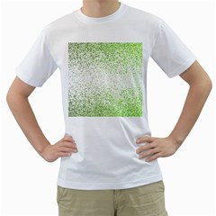 Green Square Background Color Mosaic Men s T Shirt (white) (two Sided)