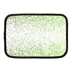 Green Square Background Color Mosaic Netbook Case (medium)  by Celenk