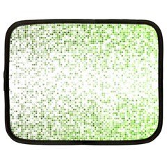 Green Square Background Color Mosaic Netbook Case (xl)  by Celenk