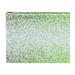 Green Square Background Color Mosaic Cosmetic Bag (xl) by Celenk