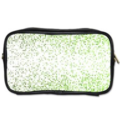 Green Square Background Color Mosaic Toiletries Bags 2 Side by Celenk
