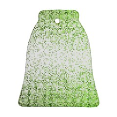 Green Square Background Color Mosaic Bell Ornament (two Sides) by Celenk