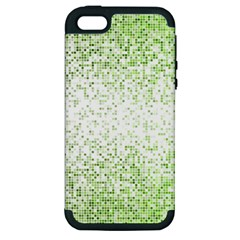 Green Square Background Color Mosaic Apple Iphone 5 Hardshell Case (pc+silicone) by Celenk