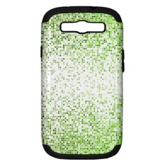 Green Square Background Color Mosaic Samsung Galaxy S Iii Hardshell Case (pc+silicone) by Celenk