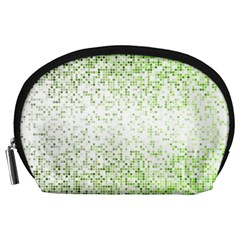 Green Square Background Color Mosaic Accessory Pouches (large)  by Celenk