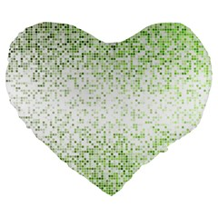Green Square Background Color Mosaic Large 19  Premium Flano Heart Shape Cushions by Celenk