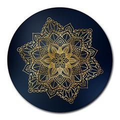 Gold Mandala Floral Ornament Ethnic Round Mousepads by Celenk