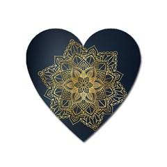 Gold Mandala Floral Ornament Ethnic Heart Magnet by Celenk