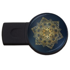 Gold Mandala Floral Ornament Ethnic Usb Flash Drive Round (4 Gb) by Celenk