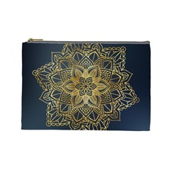 Gold Mandala Floral Ornament Ethnic Cosmetic Bag (large)  by Celenk