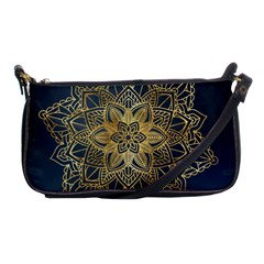 Gold Mandala Floral Ornament Ethnic Shoulder Clutch Bags by Celenk