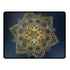 Gold Mandala Floral Ornament Ethnic Double Sided Fleece Blanket (small)