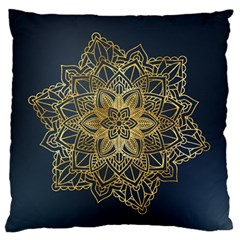 Gold Mandala Floral Ornament Ethnic Large Flano Cushion Case (two Sides) by Celenk