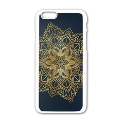 Gold Mandala Floral Ornament Ethnic Apple Iphone 6/6s White Enamel Case by Celenk