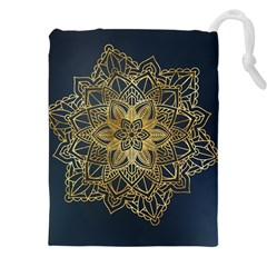 Gold Mandala Floral Ornament Ethnic Drawstring Pouches (xxl)