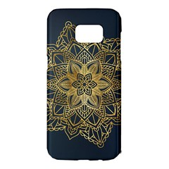 Gold Mandala Floral Ornament Ethnic Samsung Galaxy S7 Edge Hardshell Case by Celenk