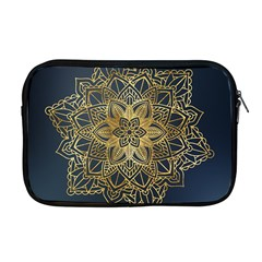 Gold Mandala Floral Ornament Ethnic Apple Macbook Pro 17  Zipper Case by Celenk