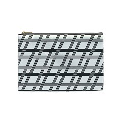 Grid Pattern Seamless Monochrome Cosmetic Bag (medium)  by Celenk