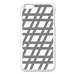 Grid Pattern Seamless Monochrome Apple Iphone 6 Plus/6s Plus Enamel White Case by Celenk