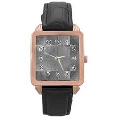 Diagonal Stripe Pattern Seamless Rose Gold Leather Watch  by Celenk