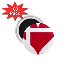 Heart Love Flag Denmark Red Cross 1 75  Magnets (100 Pack)  by Celenk