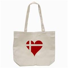 Heart Love Flag Denmark Red Cross Tote Bag (cream) by Celenk