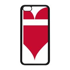 Heart Love Flag Denmark Red Cross Apple Iphone 5c Seamless Case (black) by Celenk