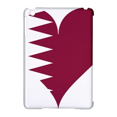 Heart Love Flag Qatar Apple Ipad Mini Hardshell Case (compatible With Smart Cover) by Celenk