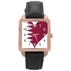 Heart Love Flag Qatar Rose Gold Leather Watch  by Celenk