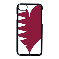 Heart Love Flag Qatar Apple Iphone 7 Seamless Case (black) by Celenk