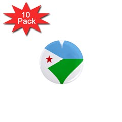 Heart Love Flag Djibouti Star 1  Mini Magnet (10 Pack)  by Celenk