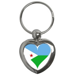 Heart Love Flag Djibouti Star Key Chains (heart)  by Celenk