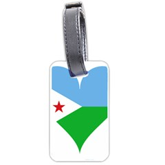 Heart Love Flag Djibouti Star Luggage Tags (two Sides) by Celenk