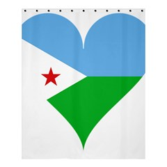 Heart Love Flag Djibouti Star Shower Curtain 60  X 72  (medium)  by Celenk