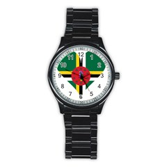 Heart Love Flag Antilles Island Stainless Steel Round Watch by Celenk