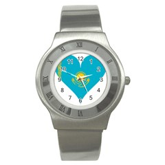 Heart Love Flag Sun Sky Blue Stainless Steel Watch by Celenk